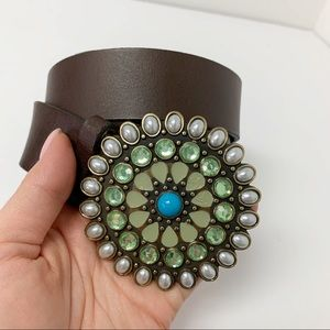 GAP Leather Boho Western Belt Faux Gems/Pearls